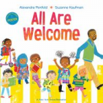 """""""All Are Welcome"""" by Alexandra Penfold. Image of African-American man with seven children of various backgrounds walking."""