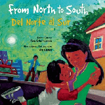 """""""From North to South"""" by Rene Colato Lainez. A mother hugs her son. In the background is a house and a car with a man pointing to the open door."""