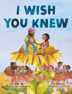 """""""I Wish You Knew"""" by Jackie Azua Kramar. Image: Three large flowers hold up two or three people each. The children and adults are happy and talking to each other."""