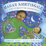 """""""Mama's Nightingale: a story of immigration and separation"""" by Edwidge Danticat. Image: African mother holds the face of a young girl in her hand, the girl looks up to her, arms outstretched releasing a bluebird. In the mother's other hand is a birdcage with a bluebird. The background is blue and green with a bed, a moon, and stylized red flowers and stars."""
